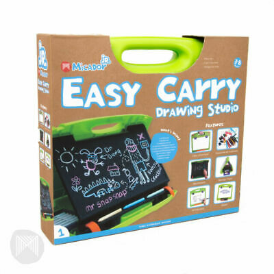 Micador Easy Cary Drawing Art Studio Set Whiteboard/Blackboard/Markers 3+ Yrs