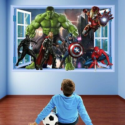 Superheroes Wall Art Stickers Mural Decal Hulk Iron Man Spiderman Thor EA87