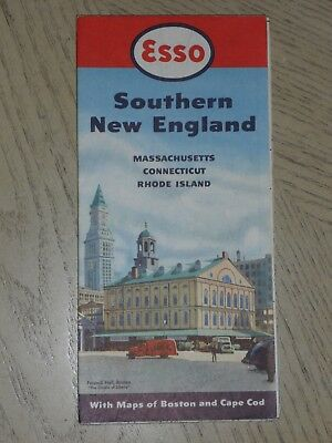 1950 Esso Oil Gas Southern New England State Highway Road Map STAMP Lynnfield MA