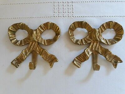 Set Of 2 Vintage Solid  Brass Ribbon/Bow Wall Hooks
