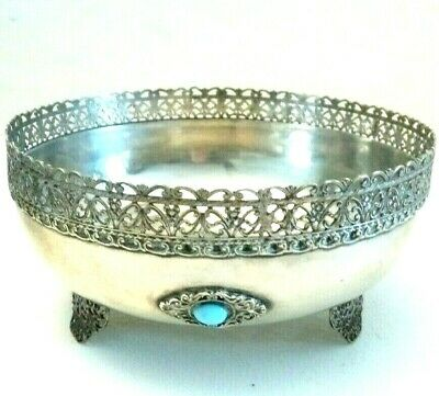 Bowl Antique Sterling Silver with Turquoise Retro Vintage 10 Italian Milano