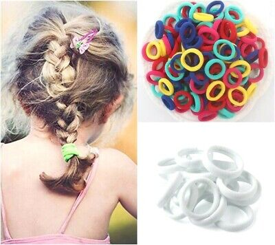 Girls 10x Thick Elastic Hair Ties SMALL Hair Bands Ponytail School see note