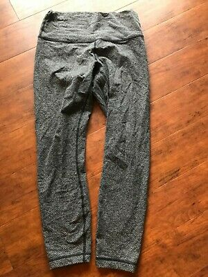 c0c0ac6bc Lululemon Giant Herringbone High Rise Wunder Under Leggings Gray Size 8 Euc