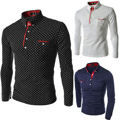 Mens Luxury Polo Shirts Long Sleeve Polka Dot Formal Style Slim Fit Blouse Tops