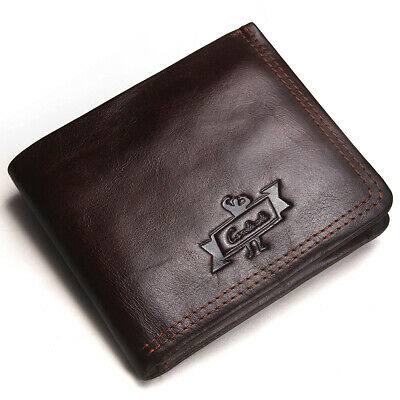 Men's RFID Blocking Genuine Leather Wallet Multi Card High Capacity Bifold Purse