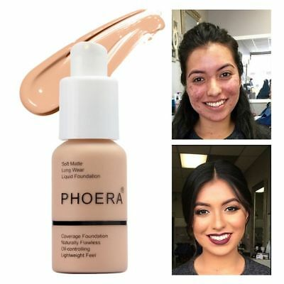 PHOERA Liquid Foundation 10 Colors Full Coverage Concealer Cosmetic Moisturizing