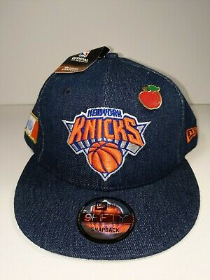 a2c969a5cd744 New York Knicks New Era Blue Jean 9FIFTY Snapback Hat & Apple Pin With  Patches