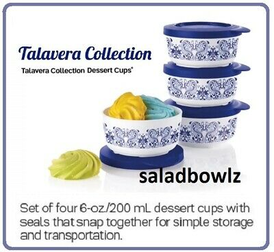 TUPPERWARE New TALAVERA 6 OZ DESSERT CUPS, 4 Cup SET in Blue White Pattern