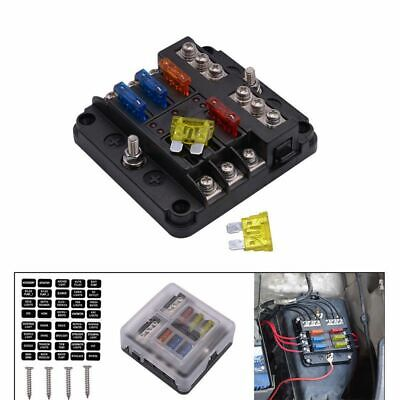 6-Way Blade Fuse Box Block Holder LED Indicator for 12V 24V Car Marine MA1284 US