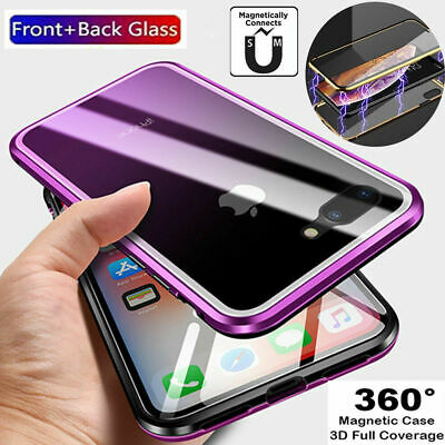 For Apple iPhone Front+Back Glass Magnetic Case Cover - Xs Max Xr X 8 7 Plus US