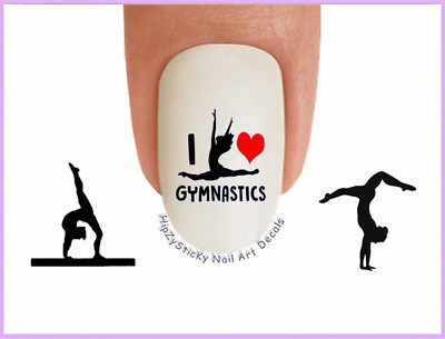 Nail Art #3085 SPORTS I Love Gymnastics #5 WaterSlide Nail Decals Transfers