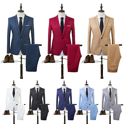 Tuxedos One Button Jacket Pants Slim Fit Mens Business Formal Groom Wedding Suit