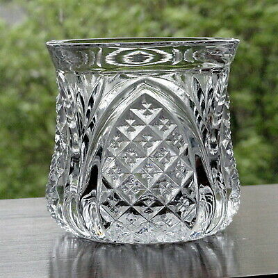 Antique English Pressed Glass Open Sugar Bowl or Vanity Dresser Jar Vase