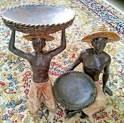 Pair of Carved Wood & Painted Blackamoor/African Boys Holding Baskets 27 cm high