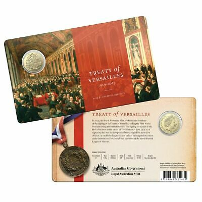 2019 Specimen $1 Coin on Card - Centenary of the Treaty of Versailles