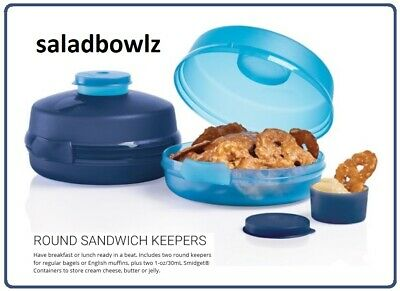 TUPPERWARE ROUND SANDWICH KEEPER w/SMIDGET CONTAINER! 2 KEEPERS Salad Bagel More