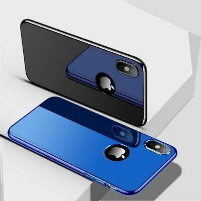 Hybrid 360 Plating Mirror Hard Case Tempered Glass Cover For iPhone XS 7 8 Plus