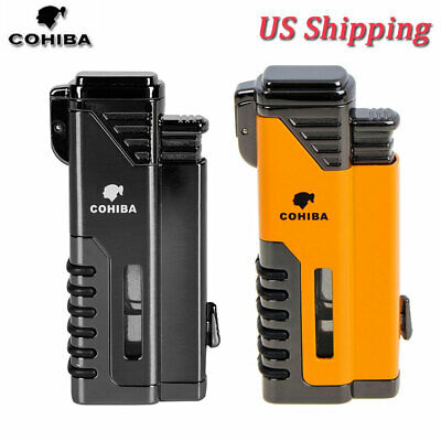 COHIBA Windproof Cigar Lighter 4 Torch Gas Cigarette Butane Lighter w/ Punch