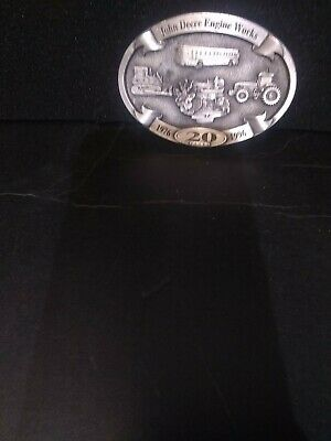 John Deere Engine Works Belt Buckle 20 Year Annv 1996 Ltd Ed Bus Crawler Tractor