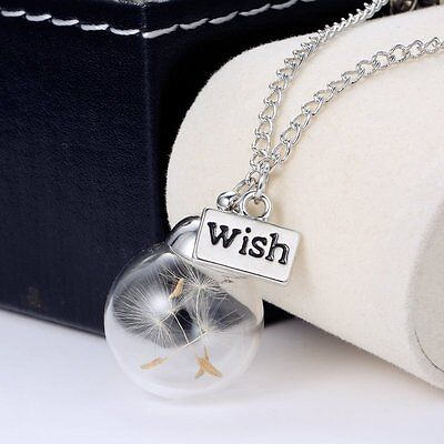 Real Dandelion Seeds Glass Bottle Pendant Necklace Lucky Wishing Fashion Gift