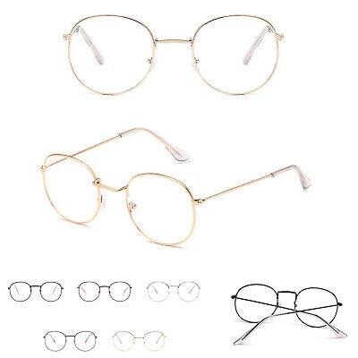 Fashion Oval Round Clear Lens Glasses Vintage Geek Nerd Retro Style Metal UK