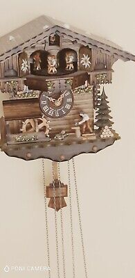 Vintage Black Forest Carved 3 Weight Musical Automaton Cuckoo Wall Clock