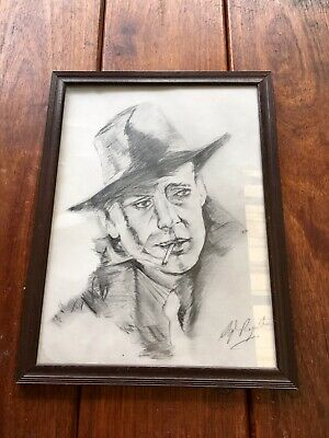 Himphrey Bogart Original Pencil Sketch Drawing Portrait Signed painting