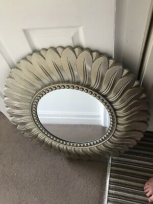 Champagne Antique Vintage Round Leaf Mirror Wall Mount Shabby Chic Ornate Used