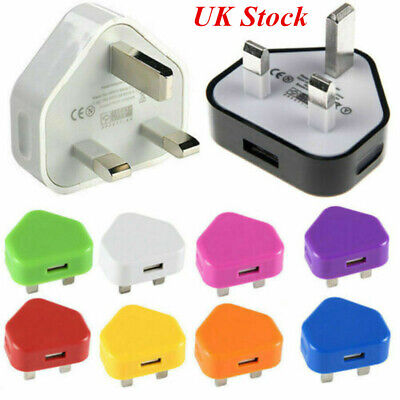 UK Plug 3 Pin Wall Charger Adapter USB Port Travel Charging For Phones Tablets