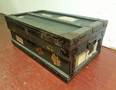 Edwardian Antique Military FP Baker & co shipping Cabin Trunk Box Coffee Table