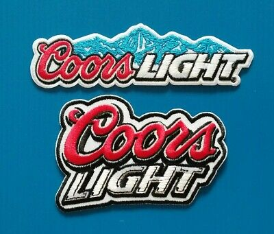 2 LOT COORS LIGHT Embroidered Iron Or Sewn On BEER BREWERIANA Patches Free Ship