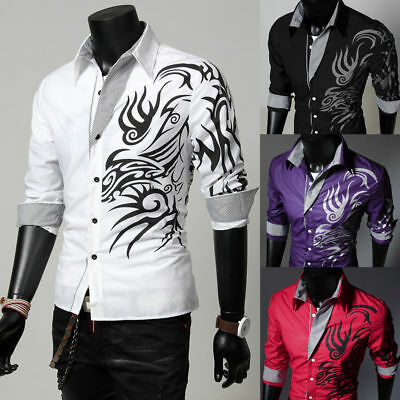 Mens Long Sleeve Slim Fit Dress Tops Business Luxury Formal Shirts Blouse Autumn