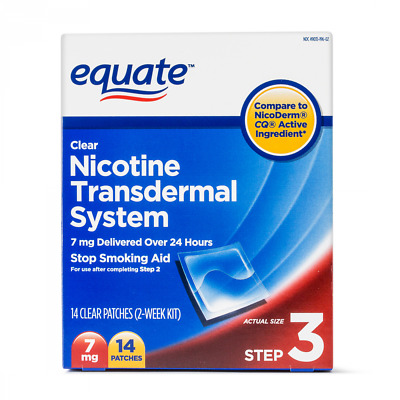 Nicotine Transdermal System Step 3 Clear Patches 7 mg 14 Ct Stop Smoking Aid