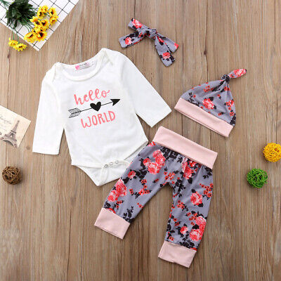 22d4b62ad Newborn Baby Girl 4PCS Romper Jumpsuit Bodysuit Pants Hat Headband Outfits  set