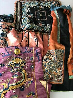 Fine Chinese 18/19Th C.century Lot Of 4 Pieces Of Embroidery Silk
