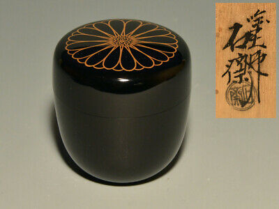 JAPANESE Lacquer Wooden Tea caddy JAPAN WOOD Chrysanthemum Makie 843h