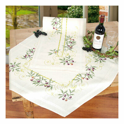 Embroidery Kit Runner Olive Branches Design Stitched on Cotton Fabric 40 x 100cm