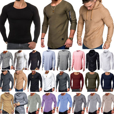 Mens Slim Fit Long Sleeve Muscle T-shirts Casual Shirts Blouse Sweater Pullover