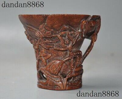 """4""""Chinese old Horns Ox horn Carved Lotus flower Wine vessel Goblet Wineglass Cup"""