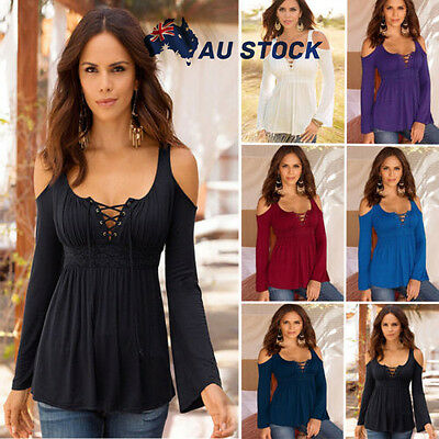 Plus Size Women Cold Shoulder Shirt Slouch Lace Up Blouse Peplum Tops Party Sexy