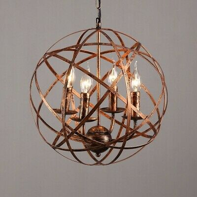 Antique Brass Round Cage 4 Candle Shape Lights Suspended Metal Globe Chandelier