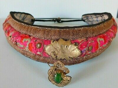 Antique Chinese Embroidered Silk Collar With Central Metal Flower/  Green Stone