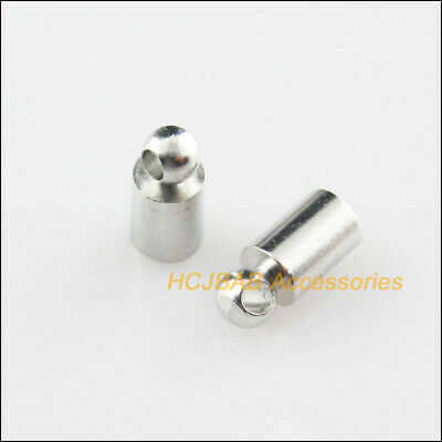 50 New Dull Silver Plated Crimp End Caps for Chains Leather Cords 4x9mm