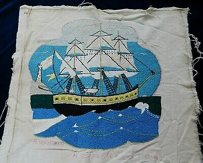 Antique Folk Art Hand Embroidered Panel 'A Ship's Friend' 'A British Man O'war'