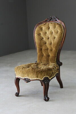Victorian Rosewood Button Back Nursing Bedroom Side Occasional Chair