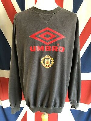 Vintage Manchester United Umbro 1992-1994 Grey Training Jumper Top Size Xl