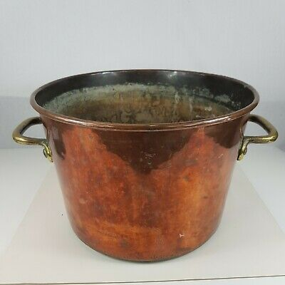Large Antique 19th Century Copper Cooking Pot Saucepan With Brass Handles 26.5cm