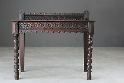 Antique Victorian Carved Oak Hall Side Console Table