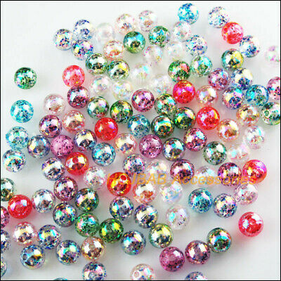80 New Loose Smooth Round Charms Acrylic Plastic Spacer Beads Mixed AB 8mm