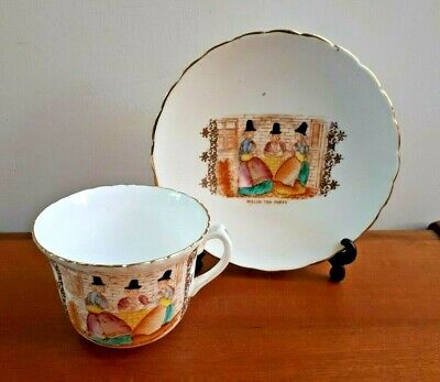 Antique Bone China Tea Cup & Saucer - Welsh Tea Party Hand Painted